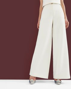 Wide leg trousers - White   Trousers & Shorts   Ted Baker UK