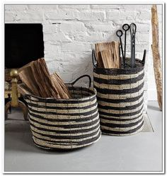 Striped black and white baskets are such a fun way to store firewood inside.