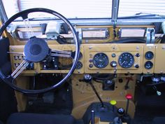 Land Rover interior.  You've got to Love the simplicity.