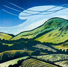 Helen Brown. Mount Caburn Lino Prints, Block Prints, Poster Prints, Art Prints, Contemporary Landscape, Landscape Art, Landscape Paintings, Illustration Art, Illustrations