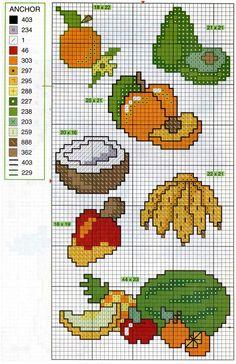 frutas Cross Stitch Fruit, Butterfly Cross Stitch, Cross Stitch Kitchen, Mini Cross Stitch, Cross Stitch Flowers, Cross Stitch Charts, Plastic Canvas Coasters, Plastic Canvas Patterns, Cross Stitching