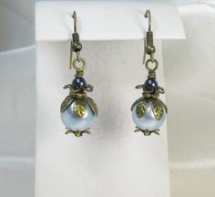 Blue Pearl Earrings Swarovski Pearls Antique Brass by Heidisjewels