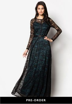 Contrast Lace Fit & Flare Maxi Dress