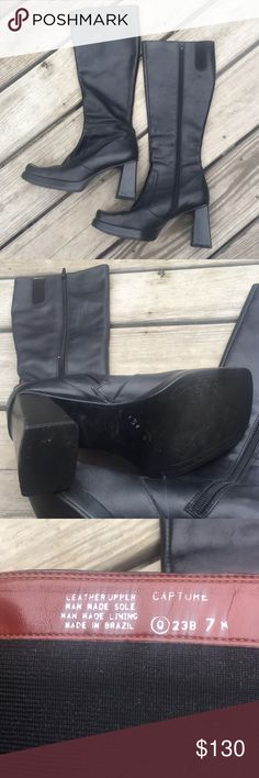 Nine West tall black boots Nine West leather black boots. Sexy, bold, you. Worn ten times or less, excellent condition, a few blemishes. Runs small. I'm a 7.5--fits a tad snug. Nine West Shoes Heeled Boots