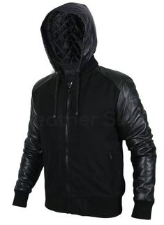 Men Black Hooded Jacket with Leather Sleeves - Leather Skin Shop Leather Top Hat, Purple Leather Jacket, Long Leather Coat, Leather Jacket With Hood, Leather Sleeves, Leather Skin, Black Leather, Leather Pants, Best Leather Jackets