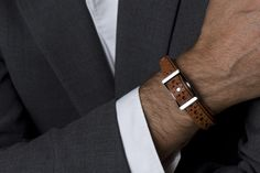 Harcourt London- Tan leather brogue band with Sterling Silver conway buckle, designed by Nick Fitch & Simon Harcourt