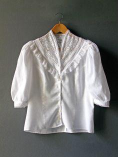White Embroidered Romantic Blouse - 1970. $35.00, via Etsy.
