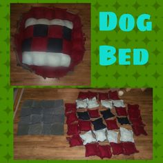 Fleece and denim dog bed sew 8 inch fleece pillows backed with scrap material raw edge out sew all 16 middle pillows together sew 18 fleece and demim backed pillows for outside raised edge bottom is 16 denim squares sew bottom to top 16 stuff with batting fray raw edges by creating cuts every 1/4 inch will tangle/fray together in wash