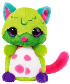 Cat Blimblam has a secret hobby: I know the number of sweets in a jar! Totally crazy and unbelievably cuddly - This cuddly toy cat has bright green plush fur, a white tummy with pink spots on it, a pink tail, purple paws, and turquoise ears. Soft Sculpture, Sculptures, Shops, Plushies, Princess Peach, Pikachu, Hello Kitty, Lego, Barbie