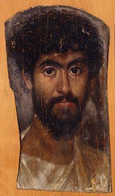 Portrait of a man, Fayum mummy collection, Encaustic on wood, century C., Fayum region of Egypt Ancient Rome, Ancient Art, Ancient History, Art History, Egyptian Mummies, Egyptian Art, Roman Art, Encaustic Art, Art Moderne