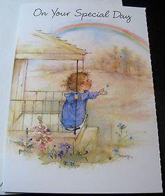Unused-Vtg-Greeting-Card-Cute-Girl-Under-Rainbow-Mary-Hamilton-Secret-Pal