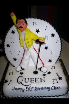 Queen cake by Richards Cakes, Manchester Queens Birthday Cake, Queen Birthday, Happy 50th Birthday, Themed Birthday Cakes, Music Themed Cakes, Music Cakes, Theme Cakes, Freddie Mercury Birthday, Queen Rock Band