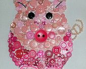 Pig Button Art Canvas.  Oink Oink.  Percy Pig.  Piggy.  Bedroom. Gift.  Wall Art.  Kids. Farm Animal