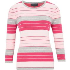 Viyella Jolly Stripe Jumper, Pink ($100) ❤ liked on Polyvore featuring tops, sweaters, pink sweater, stripe 3/4 sleeve top, stripe top, jumper top and striped top