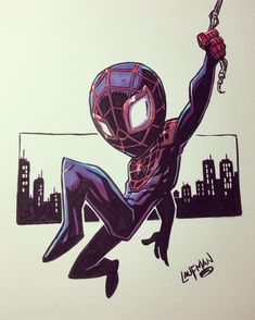 the art of derek laufman Miles Morales, Chibi Marvel, Marvel Art, Comic Kunst, Comic Art, Comic Character, Character Design, All Spiderman, Super Anime