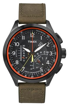 Timex® 'Intelligent Quartz' Linear Chronograph Watch, 45mm available at #Nordstrom