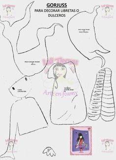 Gorjuss doll pattern, great for paper piecing or appliqué Felt Templates, Applique Templates, Applique Patterns, Applique Quilts, Embroidery Applique, Doll Sewing Patterns, Paper Piecing Patterns, Sewing Dolls, Fabric Dolls