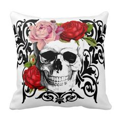 Shop floral skull throw pillow created by Boopoobeedoogift. Skull Pillow, Floral Skull, Ride Or Die, Diy Painting, Sugar Skull, Goth, Throw Pillows, Cool Stuff, Create