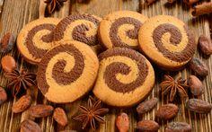 Wallpaper cookies, spiral grain, cocoa beans, cinnamon, star anise ...