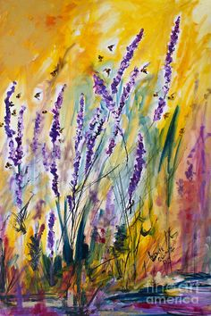 Wild Lavender And Bees Provence Painting