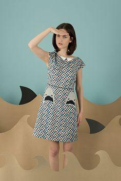 Cotton dress with sharks shaped pockets. Whooops!  #summer #dress #lazzari #lazzaristore #sharks #cotton #sharkyteam #blue #paleblue #waves #madeinitaly