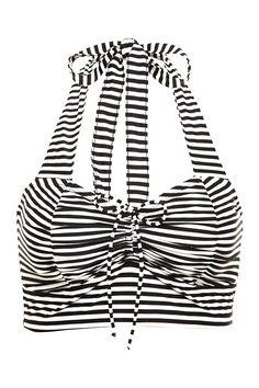 Black & White Striped Halter Bikini Swim Top   Swim