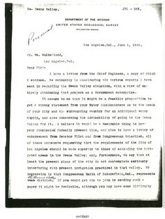 Typewritten letter from J. B. Lippincott to William Mulholland, regarding obtaining water supply for the city of Los Angeles from the Owens Valley, 1 June 1905. Catherine Mulholland Collection. Water Works - Documenting Water History in Los Angeles Digital Collection.