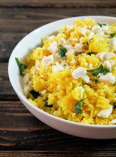 Yellow Feta Rice and Tzatziki Sauce