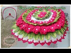 Maria Elisa Duarte shared a video Crochet Home, Love Crochet, Crochet Doilies, Crochet Flowers, Crochet Designs, Crochet Patterns, Weaving Patterns, Crochet Videos, Bathroom Sets