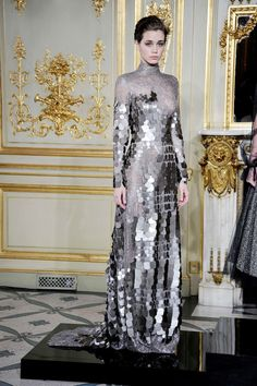 The reflective pieces on this dress reminded me of fish scales  Rami Al Ali, Couture Fall 2013