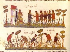Parable of the Workers in the Vineyard: Workers on the field (down) and pay time (up), Byzantine Gospel of  11th century Bibliothèque nationale de France