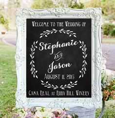 "Wedding Chalkboard- ""Welcome to the Wedding of"" with Couple's Names, Wedding Date & Location on Etsy, $125.00"