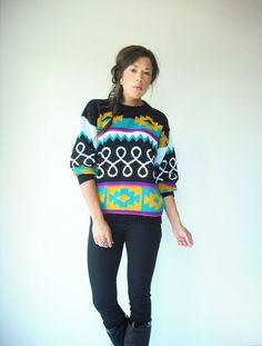 80's Vintage Aztec Print Sweater by viralthreads