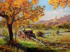 Ghost Ranch Old Wagon Painting by Gary Kim