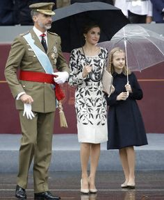 Queen Letizia of Spain, Princess Leonor, and Princess Sofia attend 2016 National Day military parade