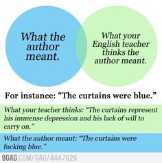 Ohh my god, this was every HS English teacher I had. And if you didn't have the same interpretation as they did, you failed. At life. Forever.