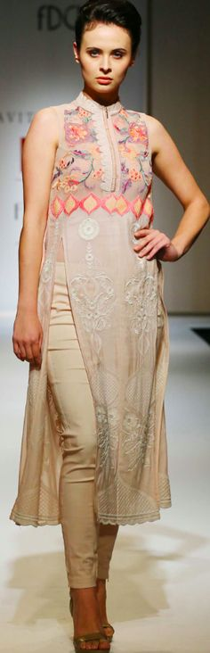 Inspiration for Áo Dài Kavita Bhartia Spring/Summer 2015 India Fashion Week, Asian Fashion, Indian Attire, Indian Ethnic Wear, Pakistani Outfits, Indian Outfits, Indian Couture, Kurta Designs, Indian Designer Wear