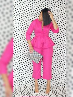 The Nicole Suit Set is such a fun statement look of our signature peplum paired with a high waist cropped trouser. Constructed from a beautiful. Older Women Fashion, Big Girl Fashion, Diva Fashion, Urban Fashion, Womens Fashion, Fashion Black, Fashion Fall, Cheap Fashion, Ladies Fashion