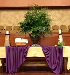 From the web. Love the palm leaves display. Perfect for the Palm Sunday altar.
