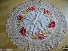 Vintage Silk Embroidered Linen round table cloth w/ handmade lace poppy flowers
