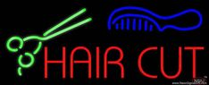 Hair Cut With Scissor And Comb Real Neon Glass Tube Neon Sign