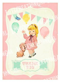 Vintage Girl and Puppy Birthday Thank you Notes / Dog / Girl / Bird / Cake / Baby Shower Thank you Card / Birthday Banner / Tea Party Puppy Birthday, Girl First Birthday, First Birthday Parties, First Birthdays, Birthday Ideas, Boy Baby Shower Themes, Baby Shower Printables, Baby Boy Shower, Puppy Party