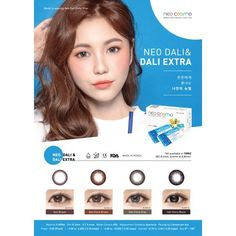 Neo Dali Extra Quarterly Disposable Black Color Contact Lens Neo Dali Extra feature a subtle darker limbal ring that add depth, enlarge and enchance iris naturally. It makes your eyes appear bigger and look naturally beautiful.   MATERIAL :2-HEMA  BASE CURVE :8.6MM  DIAMETER :14.2MM  WATER CONTENT :45%  POWER :-0.00 (PLANO), -0.50 TO -6.00 (-0.25 STEPS), -6.50 TO -10.00 (-0.50 STEPS)  PACKAGING :2 LENSES PER BOX  USAGE :QUARTERLY Contact Lens, Colored Contacts, Naturally Beautiful, Dali, Lenses, Tinted Contact Lenses, Colored Eye Contacts, Eye Contacts