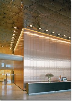 Stockholm Waterfront, Office Block, Reception Hall, Stainless Steel Ceiling and… Lobby Interior, Interior Barn Doors, Interior Walls, Interior Lighting, Interior And Exterior, Interior Design, Lighting Design, Corporate Interiors, Hotel Interiors