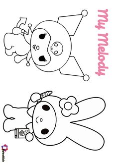 Hey look, My Melody with Kuromi. Kuromi is Sanrio's best friend this October. They look so happy. Let's color this My Melody and Kuromi picture. Free download to print. Collection of cartoon coloring pages for teenage printable that you can download and print. #ColoringPage, #Halloween, #Kuromi, #MyMelody, #October, #Sanrio #ColoringPage, #Halloween, #Kuromi, #MyMelody, #October, #Sanrio