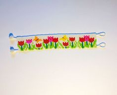 Pulsera de telar de abalorios de campo de tulipanes Tulip
