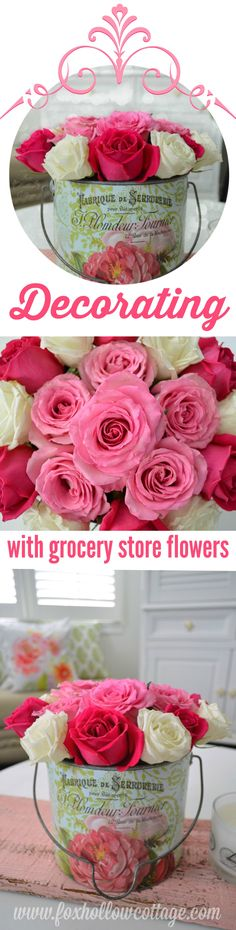 Simple Cottage Style: decorating with market flowers, pretty and affordable!