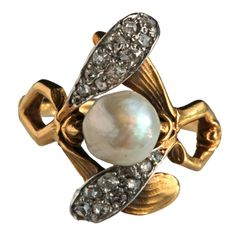 ART NOUVEAU Mistletoe Ring   From a unique collection of vintage more rings at http://www.1stdibs.com/jewelry/rings/more-rings/