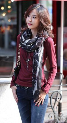 Simple Korean Style Slim Long Sleeve V-neckline Blouse w/ scarf