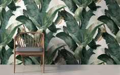 Wallpaper Ideas for the Living Room palm print wallpaper